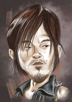 Norman Reedus as Daryl in #TWD - caricature by Ribosio