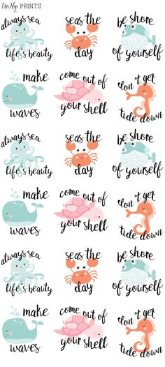 Ocean Stickers, Planner Stickers, Inspirational Stickers, Kawaii Stickers…