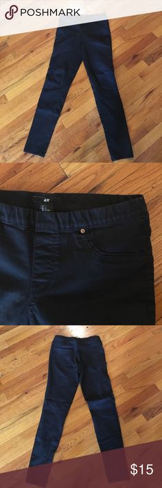 Black stretch faux denim jeans h&m size 6 Upper comfortable black skinny stretchy pants. Lightly worn perfect condition! H&M Pants Skinny