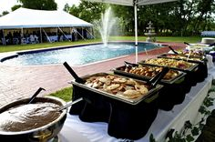 Backyard wedding BBQ buffet! Perfect for a summer wedding.
