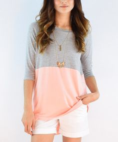 éloges Coral & Gray Color Block Three-Quarter Sleeve Tunic | zulily