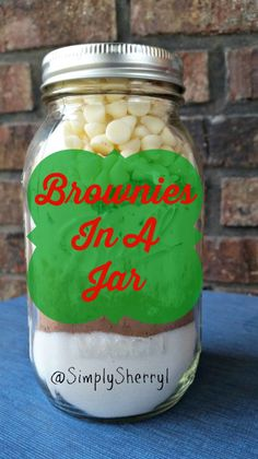 Brownies In A Jar - A wonderful gift to give to neighbors, teachers or friends. Plus, an easy way to store cookie recipes so you always have some on hand!