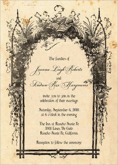 Rustic Wedding Invitations - Vintage Storybook cover for your fairy-tale wedding. $3.50, via Etsy.