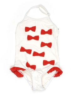 White swimsuit with red bows - Mini Rodini
