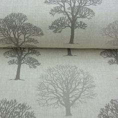 Cotton Curtain Fabric Trees Grey