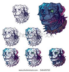 Vector set illustrations of evil mad dogs