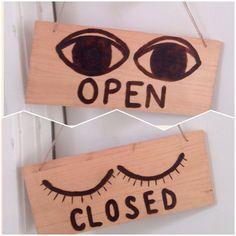 Open/Closed business sign wood burned large size by eyeballoons Open Close Sign, Optometry Office, Closed Signs, Optical Shop, Business Signs, Store Design, Office Decor, Wood Signs, Projects To Try