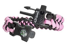 """A2S Paracord Bracelet K2-Peak Series - High Quality Survival Gear Kit with Embedded Compass, Fire Starter, Emergency Knife & Whistle - Pack of 2 - Quick Release Design Hiking Gear (Black / Pink 8.5"""") - TESTED FOR EXCELLENCE:Has been tried & tested to a minimum breaking point of 550lbs/250kg. Deploy your 12 FEET OF PARACORD in any situation where an extremely strong rope or cordage is needed. Use one of the finer SEVEN INNER STRANDS as FIRE TINDER; FISHING LINE or SEWING STRING.. UNMATCHED…"""