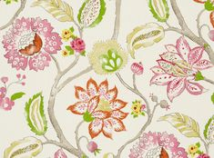 Clarke & Clarke Mariam Curtains Floral Pink and Green drapes Botanical Jacobean Custom Width Extra l Contemporary Curtains, Contemporary Decor, Floral Fabric, Linen Fabric, Clarke And Clarke Fabric, Interior Concept, Jacobean, Fabric Samples, Soft Furnishings
