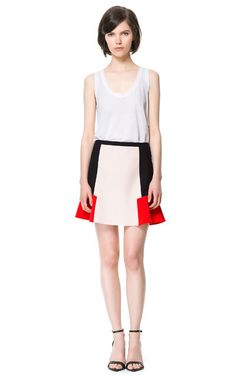 Image 1 of COLOR BLOCK COMBINATION SKIRT from Zara