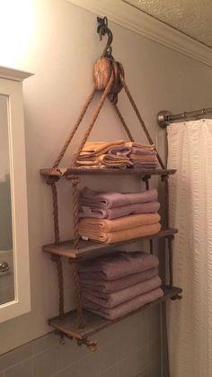 Pulley Towel Rack More #LogHomeDecorating,