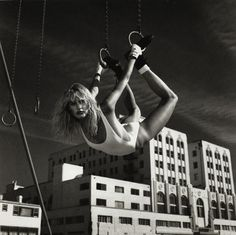 Daryl Hannah by Helmut Newton gymnastics rings fitness