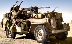 TROOPS SAS jeep in the Gabes-Tozeur area of Tunisia. The vehicle is heavily loaded with jerry cans of fuel and water, and personal kit.
