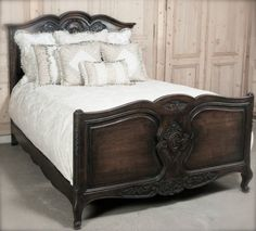 Country French Antiques | Country French Oak Queen Bed | www.inessa.com