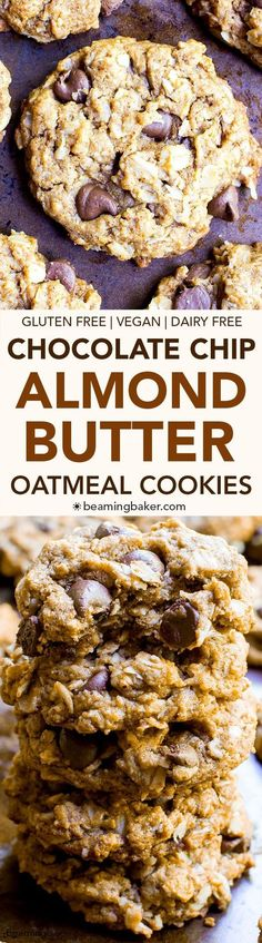 Butter Oatmeal Chocolate Chip Cookies (V+GF): An easy recipe for deliciously simple chocolate chip cookies packed with almond butter, oats and coconut. Gluten Free Baking, Gluten Free Desserts, Vegan Desserts, Vegan Gluten Free, Gluten Free Recipes, Delicious Desserts, Dessert Recipes, Gf Recipes, Whole30 Recipes