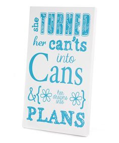 Another great find on #zulily! Blue 'Can'ts Into Cans' Wall Art #zulilyfinds