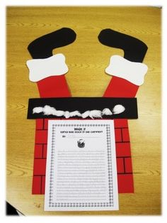 Santa stuck in chimney - use as a descriptive writing prompt (Christmas Activities Holiday Classrooms, Classroom Crafts, Classroom Activities, Classroom Ideas, Classroom Helpers, Christmas Writing, First Grade Writing, Christmas Activities, Papa Noel