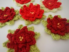 Crocheted Poinsettia from Apple Blossom Dreams - Part 1