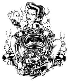 hot rod pin up drawings Psychobilly, Rock Roll, Rockabilly Art, Estilo Pin Up, Harley Davidson Motorcycles, Future Tattoos, Sleeve Tattoos, Car Tattoos, Biker Tattoos