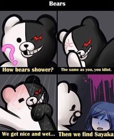 hhhhhhh it's the fourth instalment to my danganronpa meme series. none of which i take credit for, i'm simply sharing them with the world obviously big ol spoilers for the entire danganronpa franchise Monokuma Danganronpa, Danganronpa Funny, Super Danganronpa, Danganronpa Characters, Pink Blood, Danganronpa Trigger Happy Havoc, Another Anime, Me Me Me Anime, Thing 1