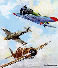 Messerschmitt Bf-109E; Polikarpov I-16 Tipo 10 Supermosca de Maria Bravo, que igualaba al Bf-109 a los 10,000mts.; Fiat G.50. Spanish Air Force.