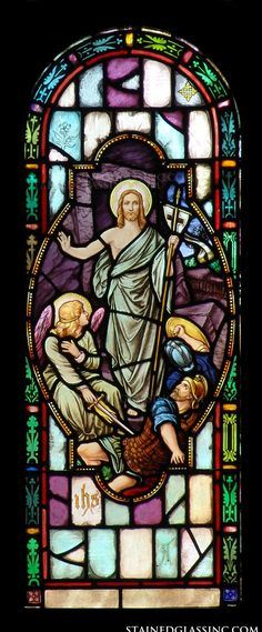 """""""Angel and Guards"""" Religious Stained Glass Window"""