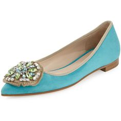 Prada Jewel Medallion Skimmer Flat ($945) ❤ liked on Polyvore featuring shoes, flats, anice, pointy-toe flats, ballet flats, pointy toe ballet flats, flat pumps and slip on flats