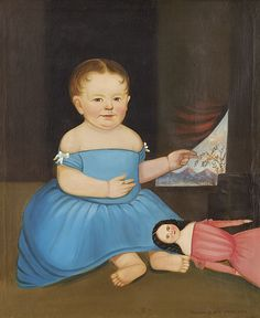 """William Mathew Prior (1806-1873), attributed, Baby in Blue, ca. 1840. Oil on panel, 29-1/2 x 24-1/4 inches. Signed at lower right """"restored by Wm M. Weaver 1895"""". Courtesy of a private collection. Photography by David Stansbury"""