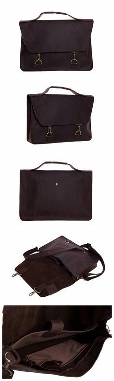 Vintage Style Genuine Leather Briefcase Men's Messenger Bag Laptop Bag Business Handbag 9081