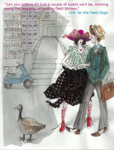 Kat and Edward, a fashionable pair strolling in Milan Unique Settings, Milan, Author, Drawings, Illustration, Dogs, Character, Inspiration, Art