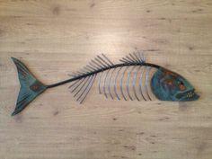 Fishbone Metal Sculptures | Chops Metal Fish Sculpture Beach Coastal by SallenbachFishArt, $125.00