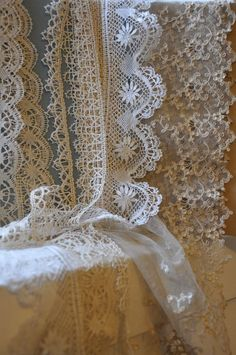 Beautiful antique French lace (bobbin and net lace) from Lily Pond, Geelong Antique Lace, Vintage Lace, Vintage Sewing, Victorian Lace, Vintage Dresses, Needle Lace, Bobbin Lace, Lace Ribbon, Lace Fabric