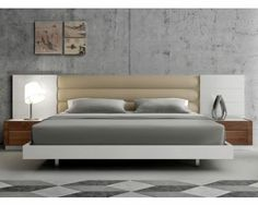 Modern Platform Bed with Upholstered Headboard