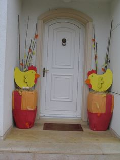 Déco Pâques, poules en carton récup #paques #deco www.pinterest.com/fleurysylvie