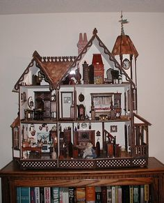 Wall Hanging Doll House OOAK Handmade Christmas Dollhouse