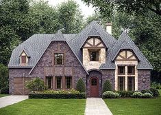 Tudor-Inspired Home Plan - 36381TX | European, Tudor, 1st Floor Master Suite, Butler Walk-in Pantry, CAD Available, Den-Office-Library-Study, Jack & Jill Bath, MBR Sitting Area, Media-Game-Home Theater, PDF, Split Bedrooms, Corner Lot | Architectural Designs