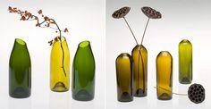 zajímavé vázy z lahví od vína