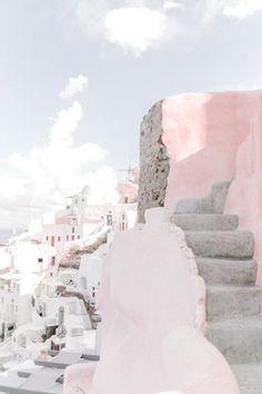 Volkswagen Bus Discover Greece Wall Art Prints // Pink Wall Art // Santorini Pastel Room Decor // Blush Prints Wall Art // T pink wanderlust Bedroom Wall Collage, Photo Wall Collage, Photo Collages, Collage Art, Aesthetic Pastel Wallpaper, Aesthetic Backgrounds, Retro Wallpaper, Travel Wall Art, Pink Wall Art