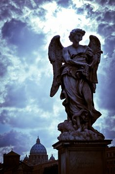 "Ponte Sant'Angelo, Rome |  ~ Michelangelo : ""I saw the angel in the marble and carved until I set him free."""