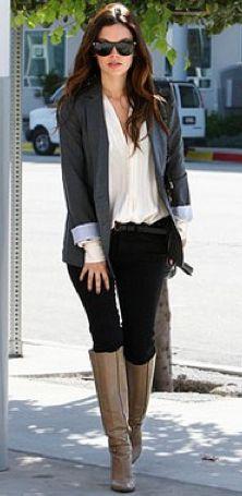 Grey blazer, black skinnies, & riding boots.