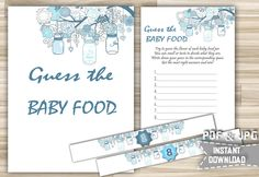 Guess The Baby Food With Mason Jars Blue Printable - Baby Shower Guess The Baby Food in Blue Jars Sign Labels Cards - Instant Download - mjb by DigitalitemsShop on Etsy