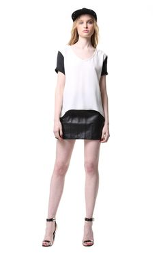 Primary NY black/white silk tee.