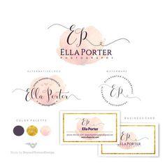 Branding Kit Watercolor logo Photography Logo Set by BVLogoDesign Logo Design, Web Design, Branding Design, Boutique Logo, Baby Boutique, Watercolor Logo, Logo Fotografie, Watermark Ideas, Logo Minimalista