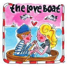 Verliefd koppel vaart in een liefdesbootje op zee- Greetz