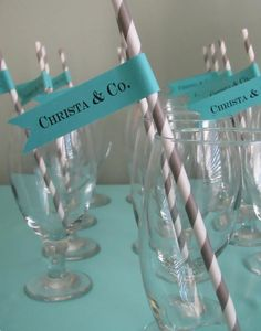 tiffany inspired straw labels