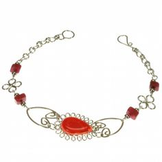 A charming bracelet featuring a central, red glass teardrop with heart-shaped alpaca silver links and polished, red agate chip beads. Only £7.99