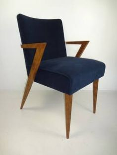 reedition of antique mid century style dining chair or occassional chair with angular oak arms and
