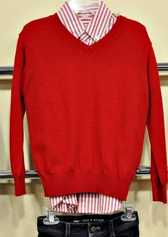 Boys 2014 Red V-Neck Sweater  2T to 12 Years