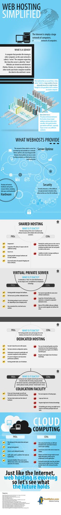 There are many different types of web hosting available today.  This infographic endeavors to explain these different types of web hosting: