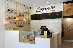 Honey Crème Soft Serve Ice-Cream Australia #ice-cream #shopdesign #interiordesign #neon #sign #pinned #whitebrick #framework #shelves #jarlights